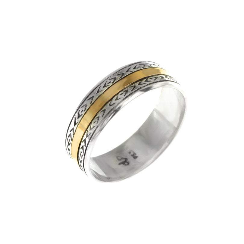 deGruchy Celtic Design Two-Tone Ring with Gold Sheeting on Sterling Silver