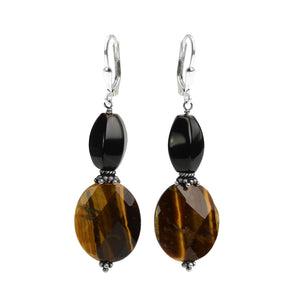 Unique Sterling Silver Black Onyx Tiger's Eye Earrings