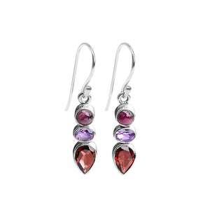 Lovely Mixed Gems: Amethyst, Tourmaline and Garnet Sterling Silver Earrings