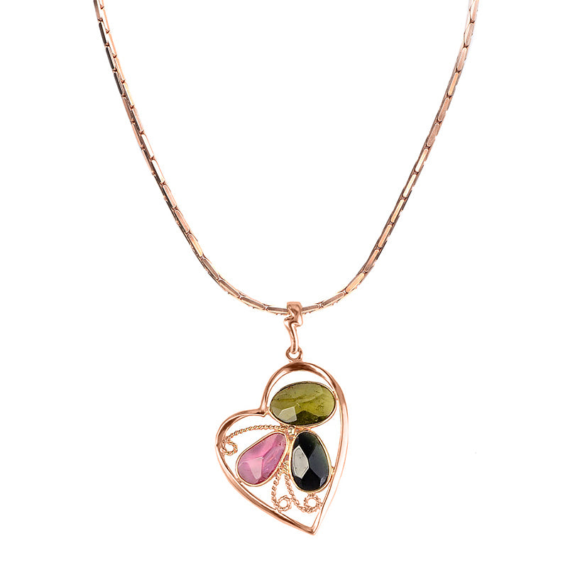 Tourmaline Heart Rose Gold Plated Sterling Silver Pendant Necklace