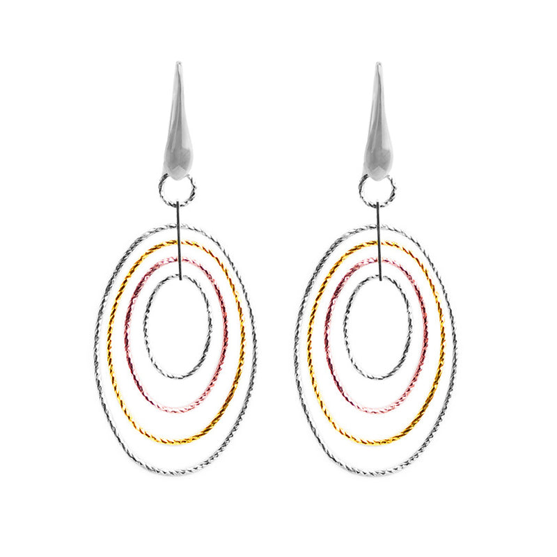 18kt Tri-Color Plated Sterling Silver Italian Earrings
