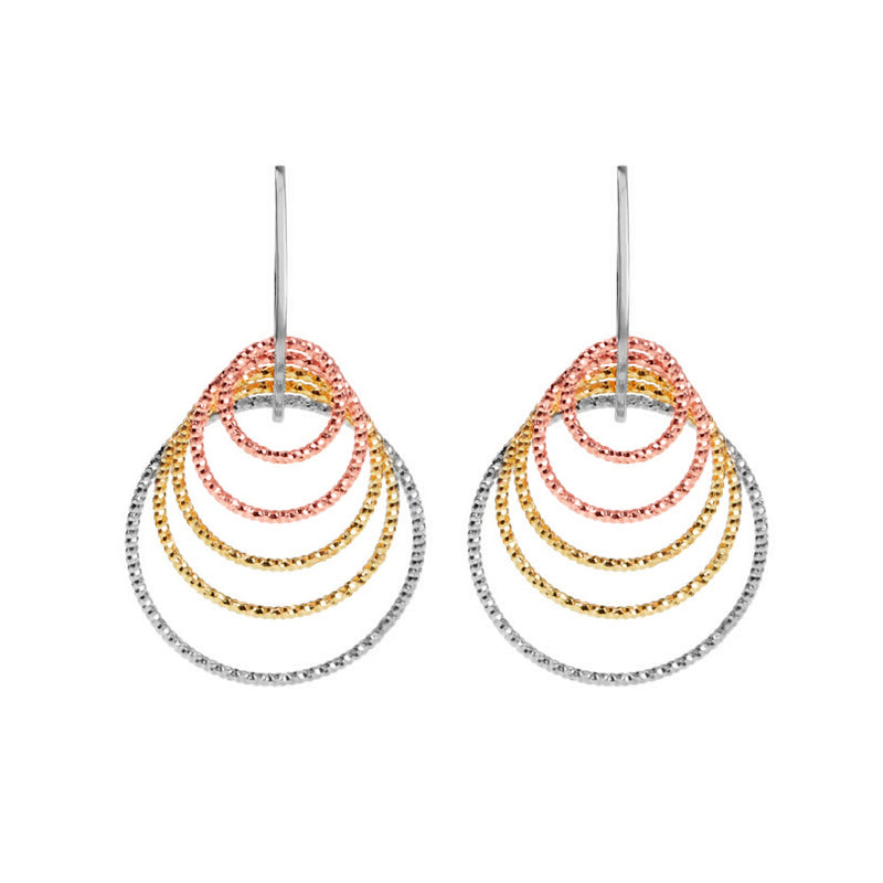 Sparkling Italian Tri-Color Diamond Cut Layered Sterling Silver Earrings