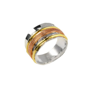"Gorgeous Vermeil, Rose Gold and Sterling Silver ""Orbiting"" Ring"