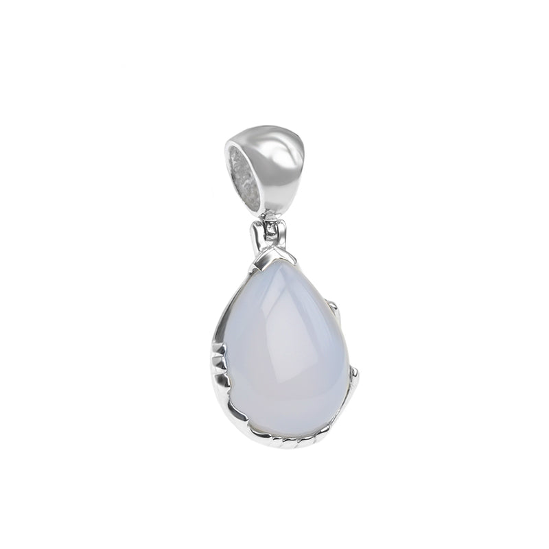 Natural Turkish Lavender Chalcedony Sterling Silver Pendant