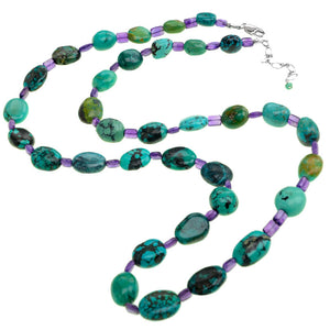Genuine Rare Turquoise with Amethyst Accent Long Necklace 34""