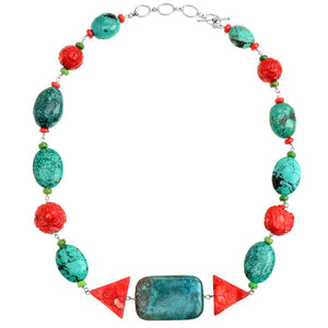 Natural and Chalk Turquoise Coral Chrysocolla Necklace