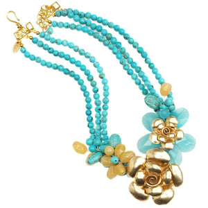Beautiful Blue Jade and Gold Vermeil Flower on Turquoise Neckline Statement Necklace
