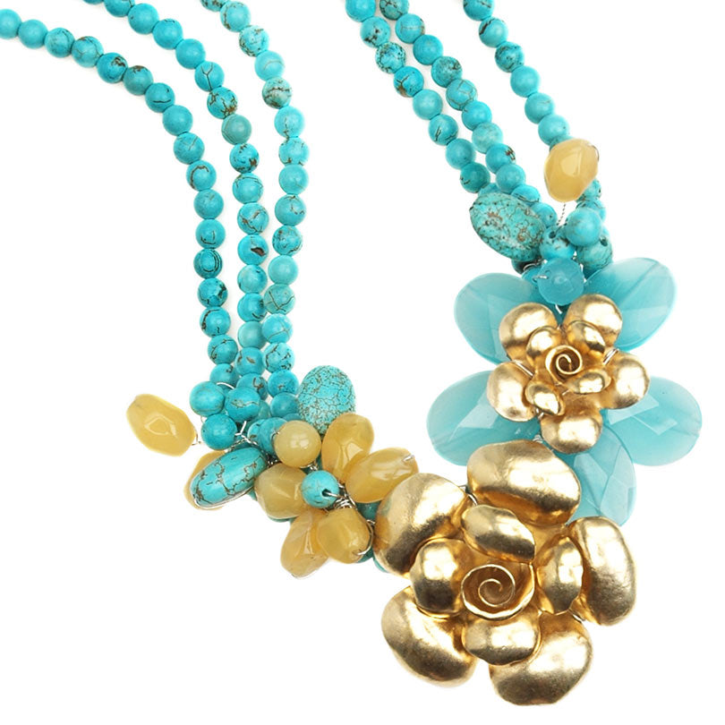 Beautiful Blue Jade and Sparkling Gold Vermeil Flower on Turquoise Neckline Statement Necklace