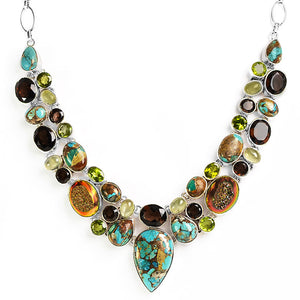 Sizzling Turquoise, Smoky Quartz, Drusy Mixed Gemstone Sterling Silver Statement Necklace