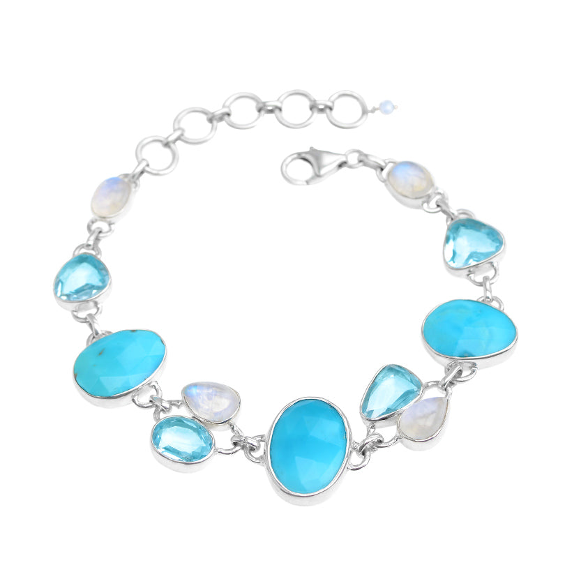 Gorgeous Blue Arizona Turquoise, Blue Topaz & Rainbow Moonstone Statement Bracelet