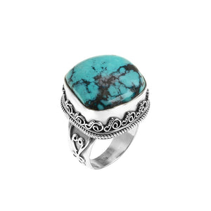 Luxurious Genuine Turquoise Sterling Silver Ring