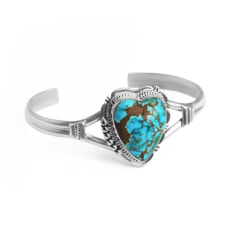 Pretty Southwestern Style Turquoise Valentine Heart Sterling Silver Petite Statement Cuff