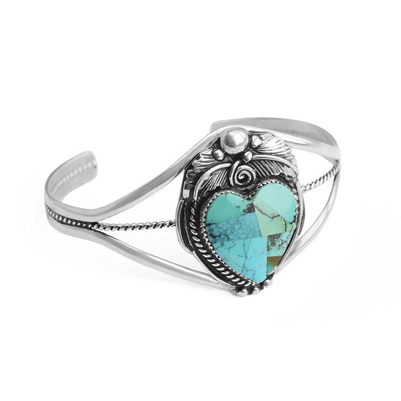 Beautiful Blue Southwestern Turquoise Mosaic Heart Sterling Silver Cuff