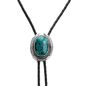 Vibrant Genuine Turquoise Sterling Silver Leather Bolo-Tie 39""