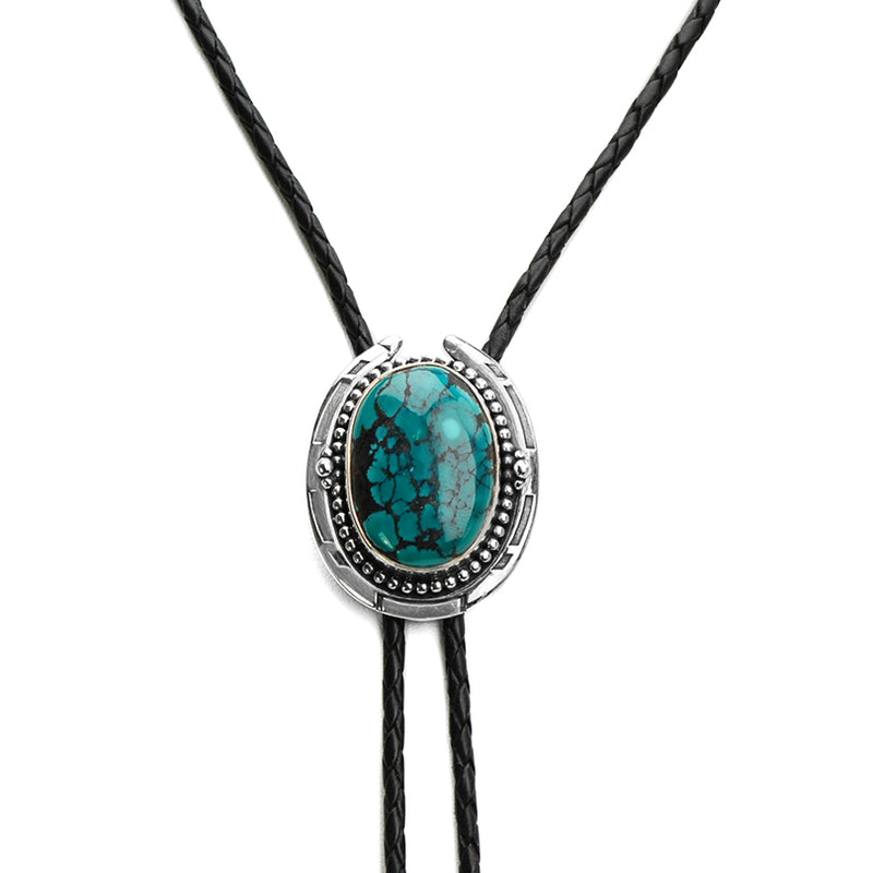 Vibrant Genuine Turquoise Sterling Silver Leather Bolo-Tie 39