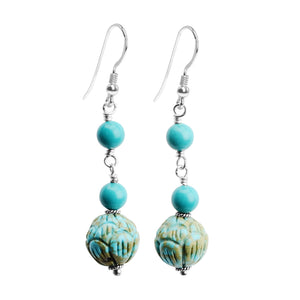 Petite, Beautiful Chalk Turquoise Carved Earrings on Sterling Silver Hooks