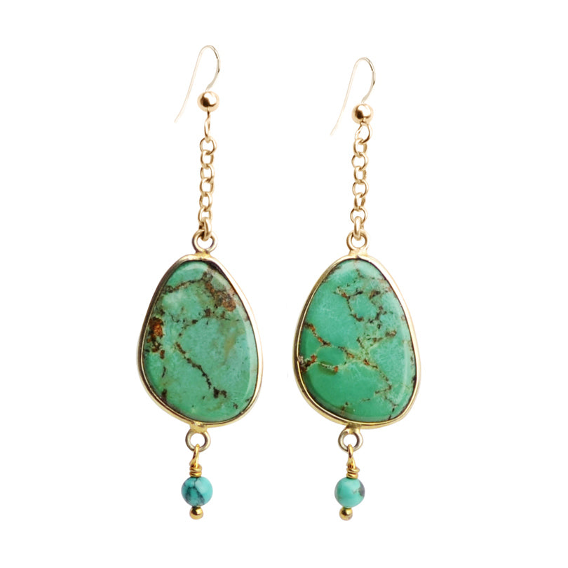 Glamorous Genuine Turquoise Earrings With Gold Fill Hooks