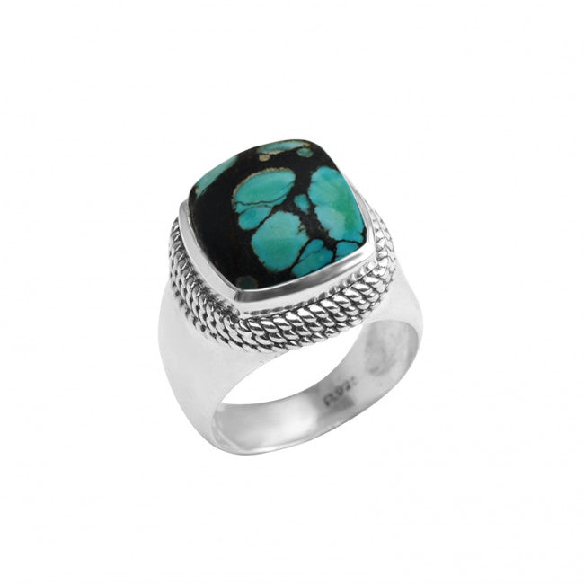 Large, Fantastic Turquoise Sterling Silver Statement Ring