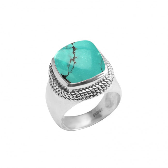 Genuine Beautiful Blue Large Turquoise Sterling Silver Ring