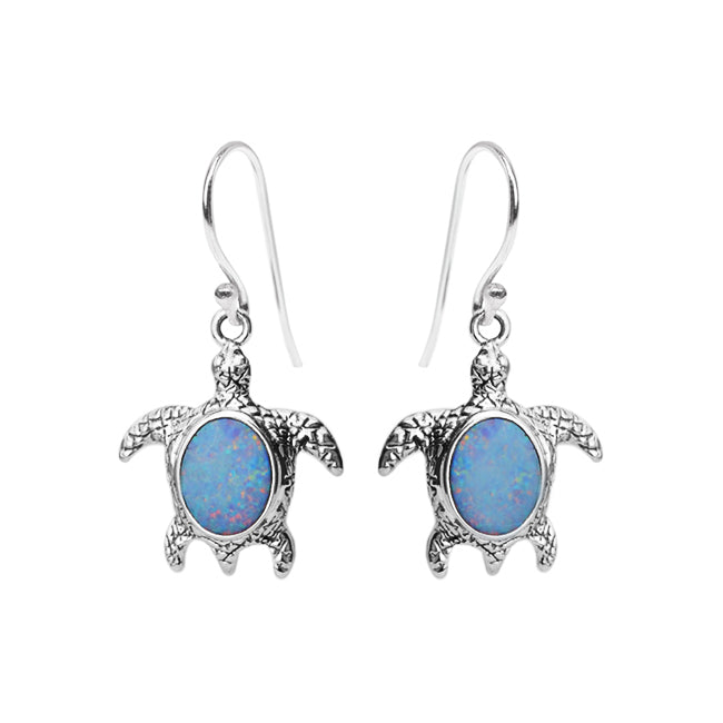 Playful Australian Blue Opal Sterling Silver Turtle Earrings