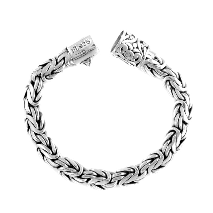 Sterling Silver 10mm Borobadur Bracelet with Filigree Barrel Clasp