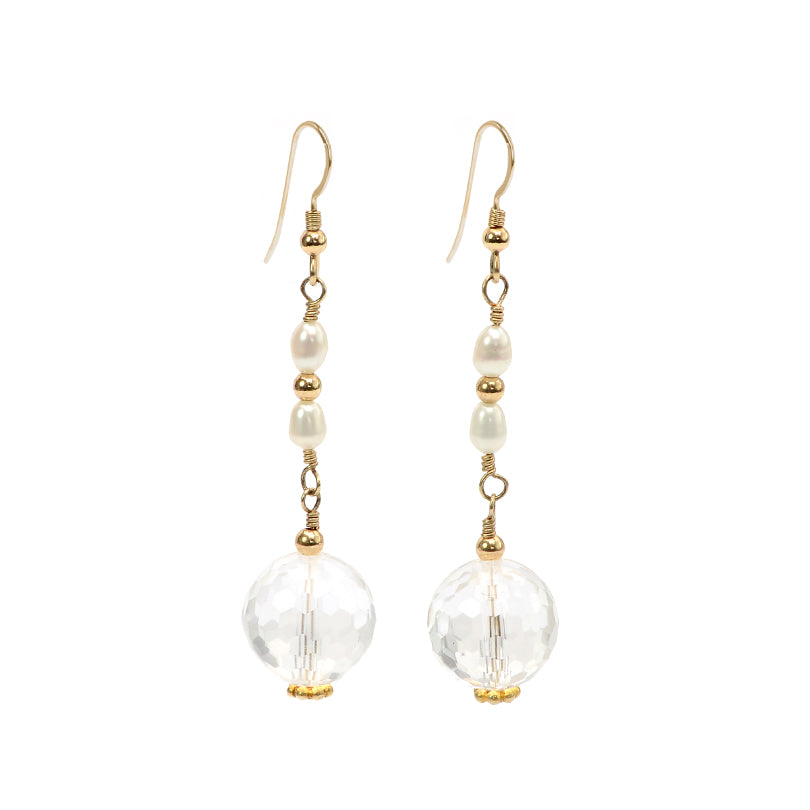 Gorgeous Diamond Cut Crystal Balls & pearl with Gold Fill Leverback Earrings
