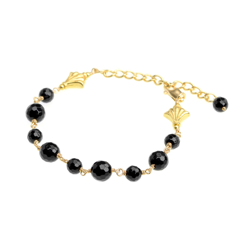 Delicate Black Onyx Gold Plated Bracelet