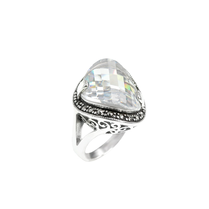 Sparlking Faceted Clear Cubic Zirconia &  Marcasite Sterling Silver Ring