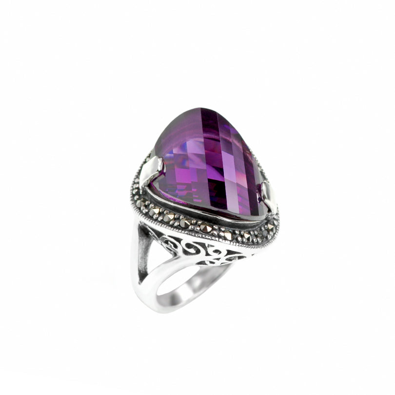 Gorgeous Purple Cubic Zirconia Sterling Silver Marcasite Ring