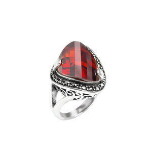 Gorgeous Red Cubic Zirconia Sterling Silver Marcasite Ring