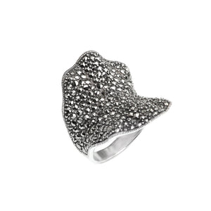 Sparkling Ribbon Design Marcasite Sterling Silver Ring
