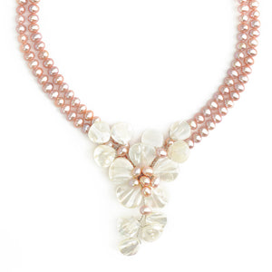Natural Pink Freshwater Pearl and Mother of Pearl Flower Necklace