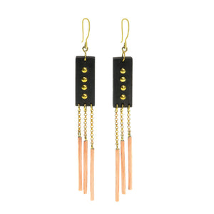 Charming Rosewood Brass Studded Dangle Earrings