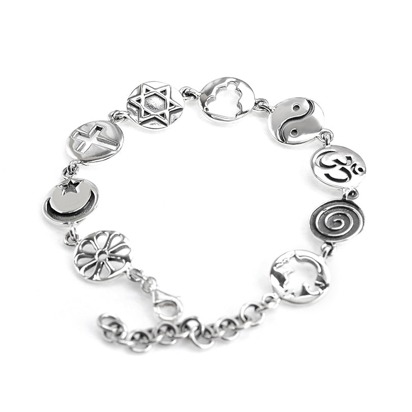 World Peace Sterling Silver Charm Bracelet