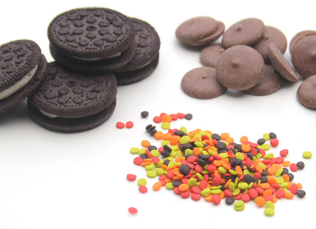 sandwich cookies, chocolate and sprinkles for chocolate covered oreos