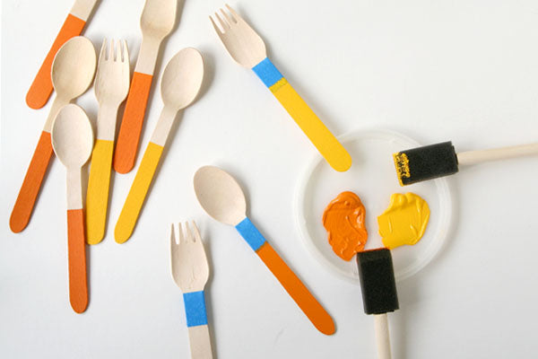 DIY Painted Wooden Cutlery for Thanksgiving