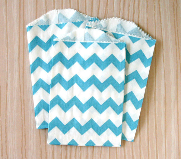 Blue Chevron Bags - Small