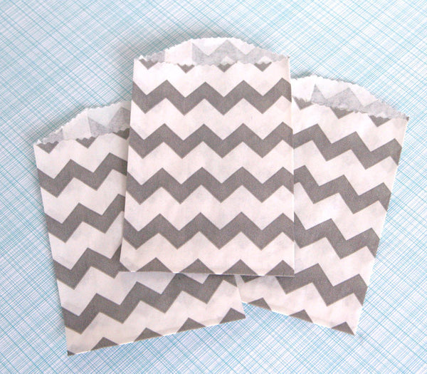 Gray Chevron Bags - Small