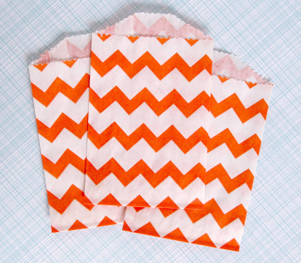 Orange Chevron Bags - Small