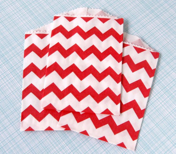 Red Chevron Bags - Small