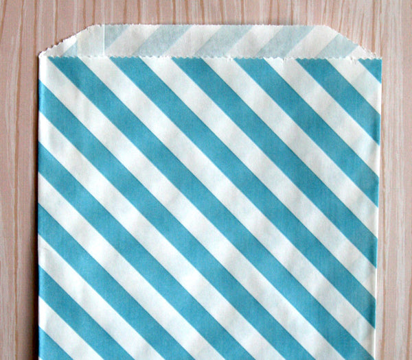 Blue Diagonal Stripe Bags - Large
