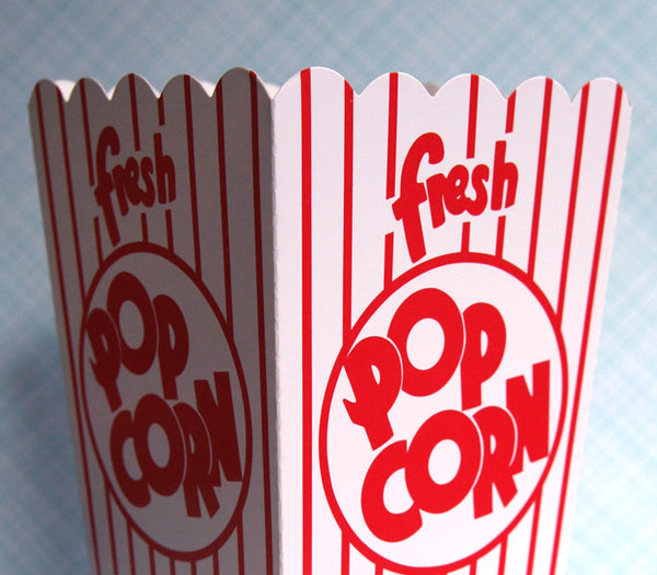 Retro Red and White Popcorn Box