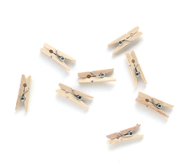 Mini Clothespins - Natural - 100 Count