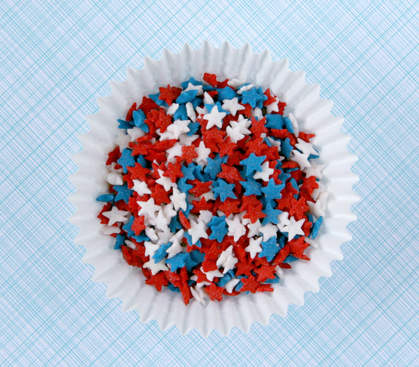 Red, white and blue star quin sprinkles