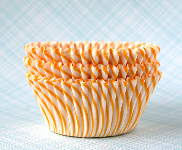 Yellow Striped Cupcake Liners