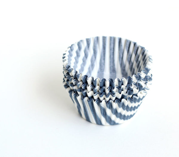Grey Barber Stripe Cupcake Liners