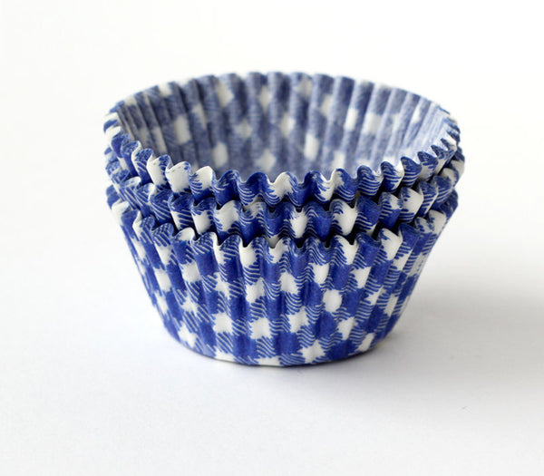 Blue Gingham Cupcake Liners