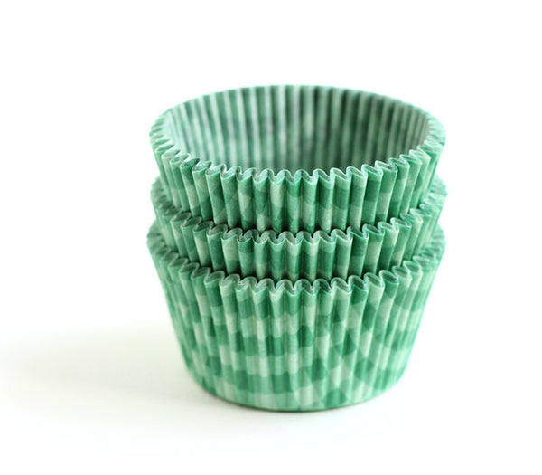 Green gingham cupcake liners