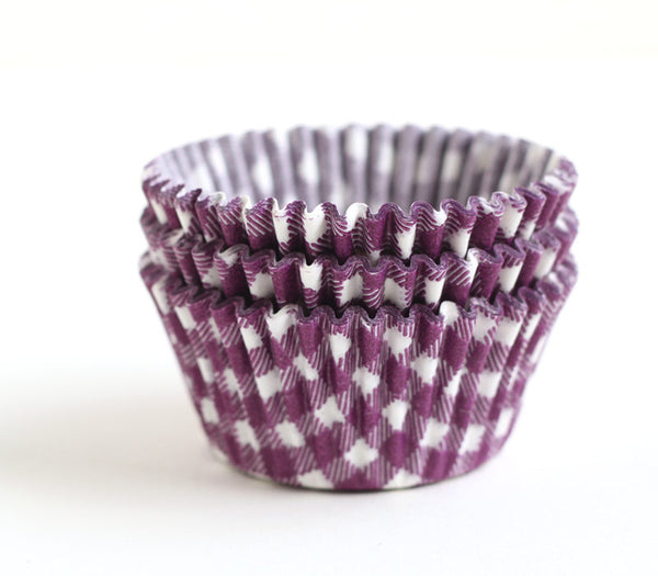Purple Gingham Cupcake Liners