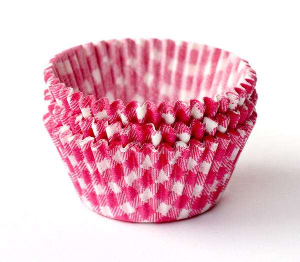 Pink Gingham Baking Cups / Cupcake Liners